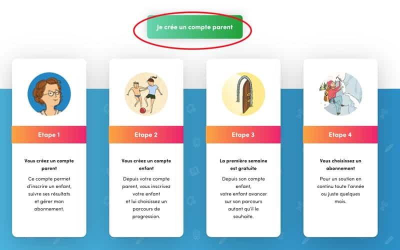 2. Puis cliquez sur le bouton vert « Je crée un compte parent » .