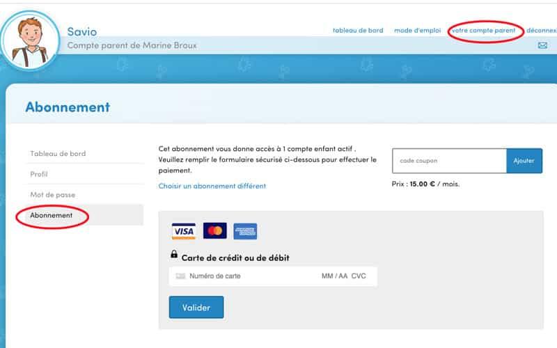 Accédez à votre abonnement, en cliquant sur « Profil parent » ou « Votre compte parent » puis sur « Abonnement »