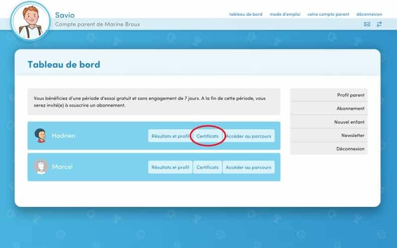 1. Depuis votre tableau de bord, sur la ligne de l'enfant concerné, cliquez sur « Certificats » .
