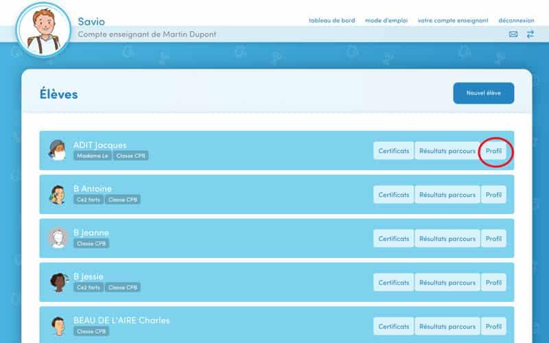 Cliquez sur « Profil » sur la ligne de l'élève concerné.
