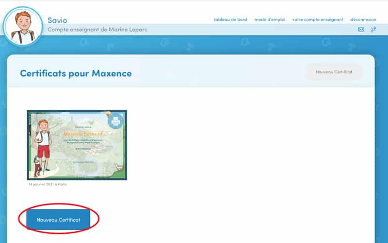 Cliquez sur « Nouveau certificat » .