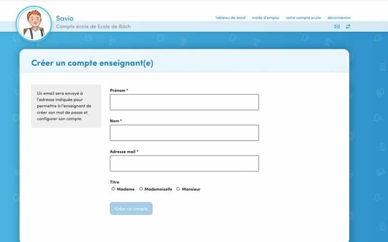 Créez le compte de chaque enseignant en indiquant son email, son prénom puis son nom et son titre et cliquez sur « Enregistrer »