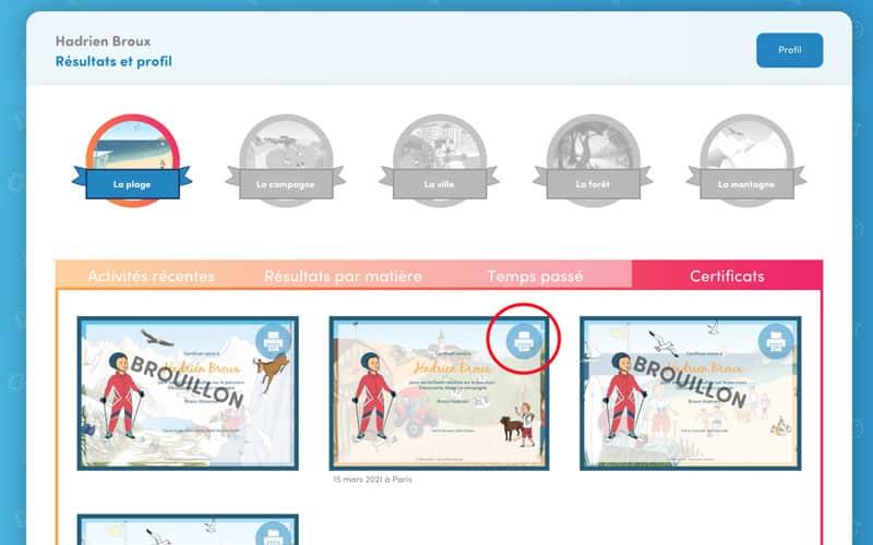 6. De retour sur cette page de « Certificats » , cliquez sur l'icône de l'imprimante pour ouvrir l'image et allez dans votre menu du navigateur internet sur « Imprimer » pour imprimer le certificat.