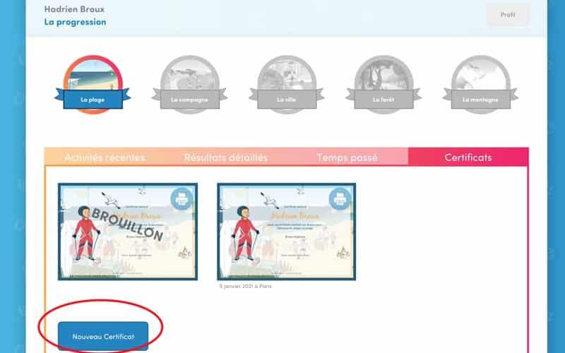 2. Puis cliquez sur « Nouveau certificat » .